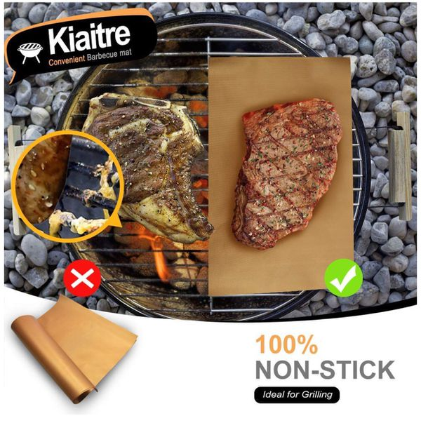 159. Non Stick BBQ Grill Mat - Set of 3 Barbecue Mat & Baking Mat-Reusable and Easy to Clean, for Gas, Charcoal, Electric Grill
