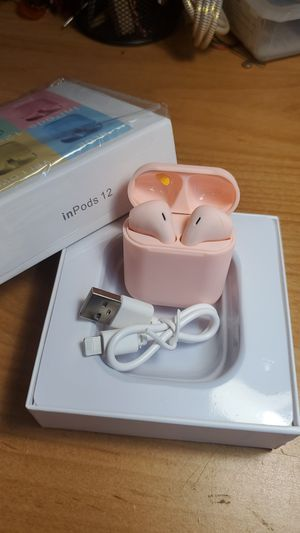 Pink inPods 12 new Bluetooth earphones new headphones headset earbuds for iPhone Android iPad girl gift for Sale in Vancouver, WA