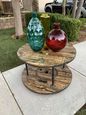 Dark stained spool table INDOOR/OUTDOOR for Sale in Chula Vista, CA