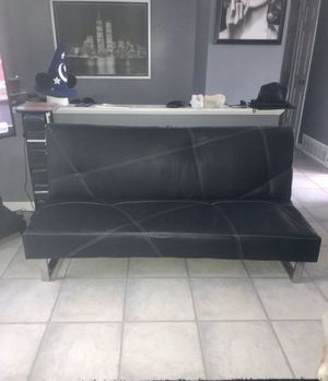 Black leather futon for Sale in Hanover Park, IL