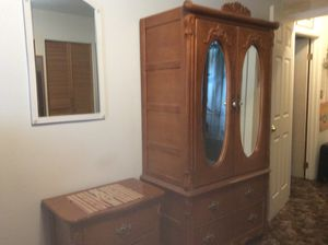 Oak 3pc bedroom set Full sized frame w/sideboards, Armoire and Night stand (mattress NOT included). Very good cond. $300.00 North Denver. for Sale in Denver, CO