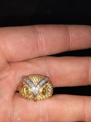 Owl 14k gold with cats eye ring for Sale in Otisville, MI