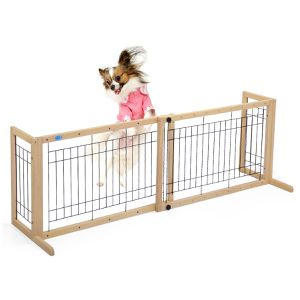 New Adjustable Indoor Wood Dog Free Standing Gate 0238 for Sale in Ontario, CA