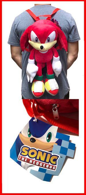 NEW! Novelty Knuckles Sonic The Hedgehog soft plush backpack movie kids bag shoulder bag rave sega video games anime cartoon movie for Sale in Carson, CA