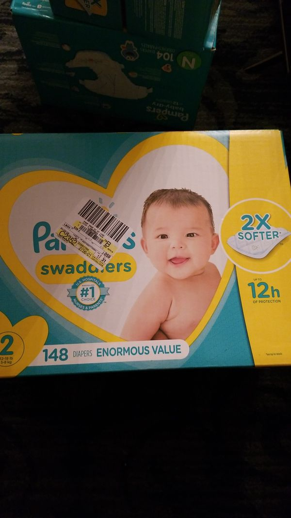 Pampers swaddlers size 2 diapers 148 count