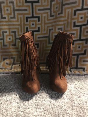 Trendy brown fringe bootie. Only wore once. Everyone loves these but I can't walk in heels 😞 Just marked down the price. for Sale in Herndon, VA