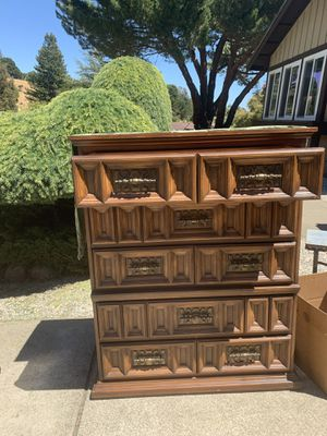Chest and dresser with mirror. King size headboard as well. for Sale in Castro Valley, CA