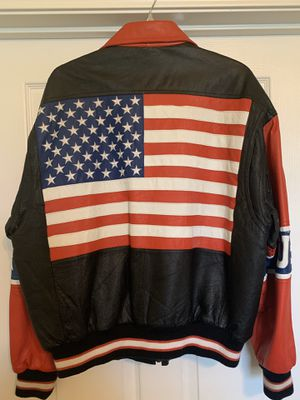 Vintage Michael Hoban Where MI USA America Flag Leather Jacket, L for Sale in Nashville, TN