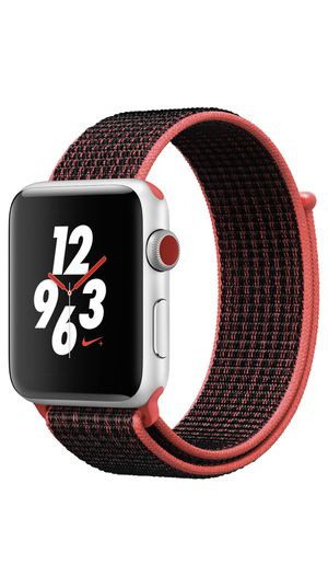Apple Watch Nike+ Series 3 42mm (GPS + Cellular, Silver Aluminum Crimson/Black Nike Sport Loop) for Sale in St. Petersburg, FL