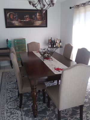 8 chair wood dining room set for Sale in Miami, FL