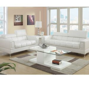 White Bonded Leather Sofa And Loveseat Set Couches for Sale in Downey, CA