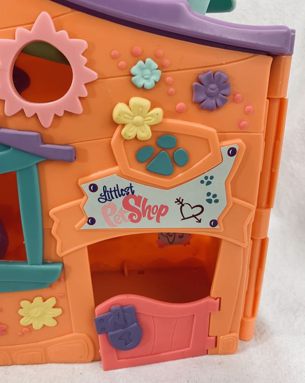 LITTLEST PET SHOP LPS Orange Club Playset 2007 Tree House w/Swings Opens Up EUC