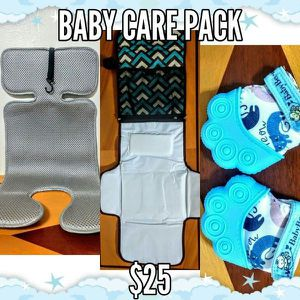 Baby care pack - includes stroller/car seat liner, portable changing pad and teething mittens for Sale in Everett, MA