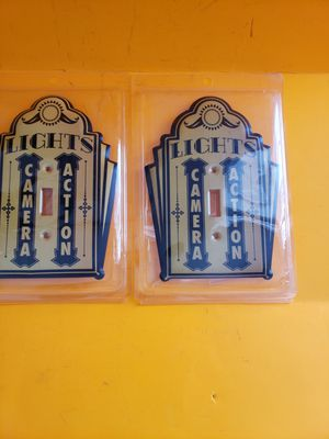 New metal set of 2 Theater movie switch plate decor for Sale in Stow, OH