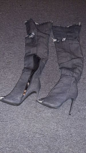 Jean knee high boots for Sale in Long Beach, CA