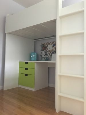 Loft bed with desk, shelves, and closet for Sale in Shepherdstown, WV