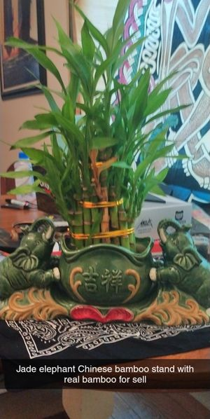 Chinese claymate bamboo plant holder with bamboo stalks for Sale in Athens, GA