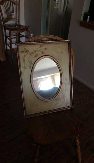 Vintage items antique mirror vanity mirror picture frame inkwellAnd glass for Sale in Livonia, MI