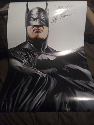 Batman poster signed by artist Alex Ross along with certificate of authenticity. for Sale in Laredo, TX