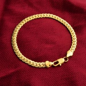 "18k gold plated bracelet 8"" long 5mm wide matching chain also available for Sale in Silver Spring, MD"