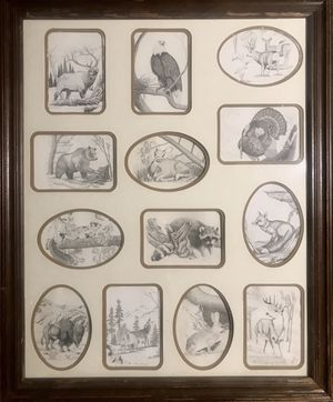 PEN &INK ART OF ANIMALS IN NATURE IN WOOD FRAME for Sale in Wichita, KS