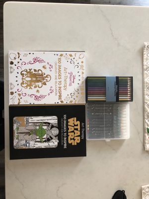 Art therapy books, colored pencils and colored marker for Sale in Yorkville, IL