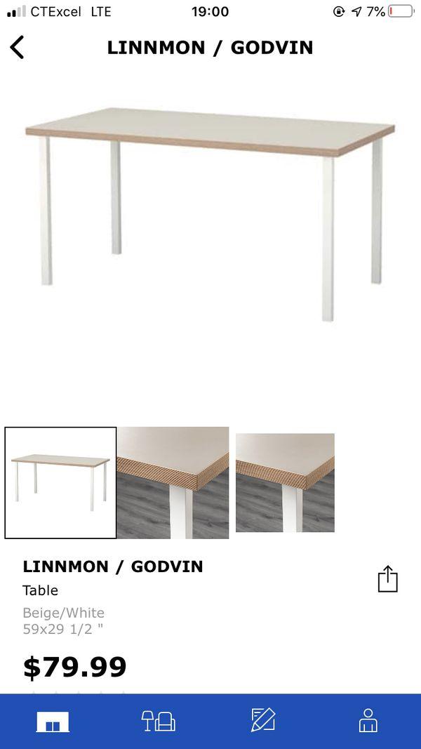 Ikea large linnmon table + ivar chair