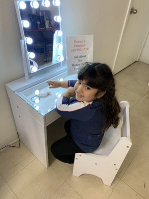 Vanity Mini Kids vanity with chair lighting Romeo's Furniture downtown Madera for Sale in Madera, CA