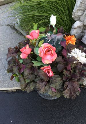 Pot with real and artificial flowers for Sale in Absecon, NJ