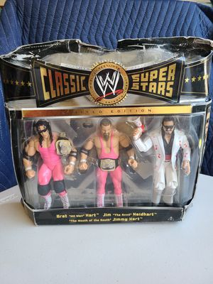 WWE Classic Superstars Hart Foundation Bret Hart Jim Neidhart Jimmy Hart 3 pack for Sale in Riverside, CA