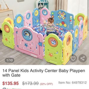 14 Panel Kids Activity Center Baby Playpen with Gate for Sale in Chino, CA