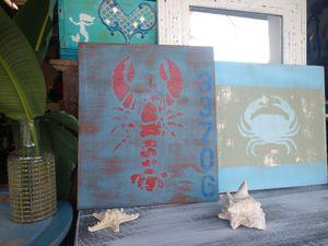 Nautical Lobster Art Coastal BEACH HOUSE Decor St Pete Beach zipcode for Sale in South Pasadena, FL
