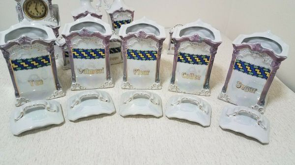 Rare mepoco Germany Stunning antique pearl lustre ware w/ clock 13pcs