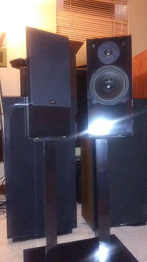 NHT (NOW HEAR THIS)model 1.3 150 watts selling with original speaker stands for Sale in St. Louis, MO