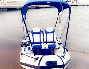 CUSTOM INFLATABLE BOAT DINGHY WITH ELECTRIC MOTOR JBL SOUNDS AND MORE (No trailer required) for Sale in Fresno, CA