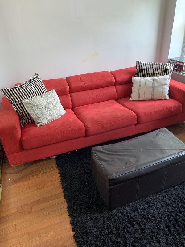 Ashley Furniture Red Couch and Ottoman + Rug