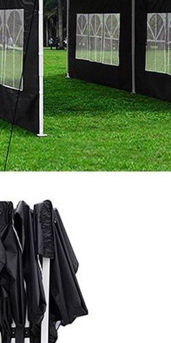 (NEW) $210 Heavy-Duty 10x20 Ft Outdoor Ez Pop Up Party Tent Patio Canopy w/Bag & 6 Sidewalls, Black for Sale in South El Monte,  CA