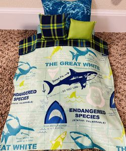 """New Sharks American Girl Sized 4 Piece Doll BEDDING to fit an 18"""" sized doll. This bedding set comes with the 3 pillows shown and the blanket. #Americ for Sale in Colorado Springs,  CO"""