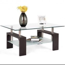 P16-5 .... Rectangular Tempered Glass Coffee Table with Shelf-Brown for Sale in Walnut,  CA