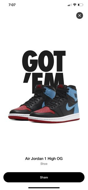 Jordan 1 NC to CHI size 7.5M for Sale in Los Angeles, CA