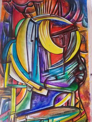 HAITIAN Art 32x19 Abstract PAINTING by Guesilhom Jean Baptiste for Sale in Queens, NY