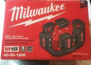 Milwaukee M18 18-Volt Lithium-Ion 6-Port Sequential Battery Charger brand new no battery no charger for Sale in Los Angeles, CA