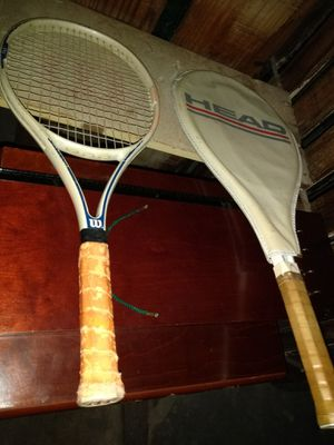 He set of two tennis rackets one with a case good condition use I am in Lakewood Ohio and I do deliver for Sale in Cleveland, OH
