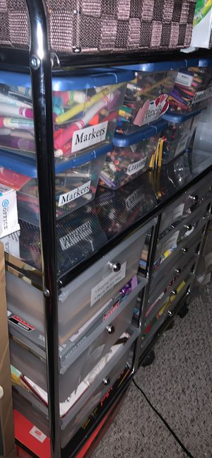 Rolling storage cart with 9 plastic drawers and Two shelves for Sale in Caldwell, NJ