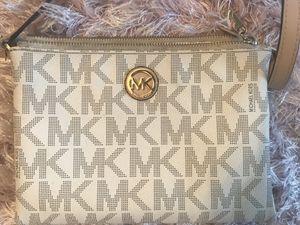White Gold tan Michael Kors MK Crossbody purse bag wallet for Sale in Corona, CA