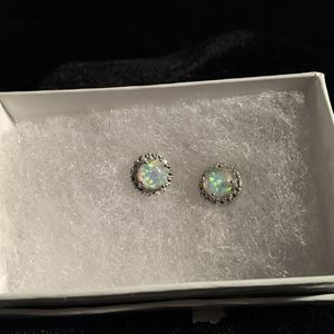 925 opal/diamond earrings for Sale in Glen Burnie, MD