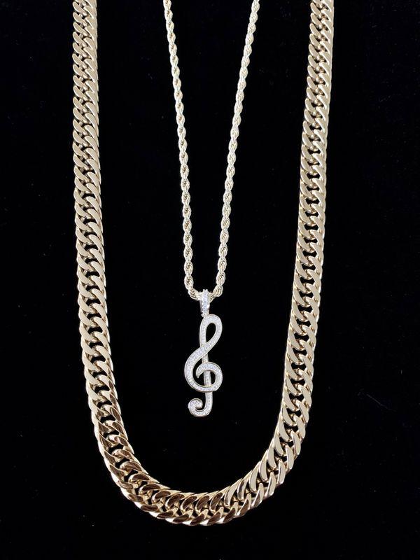 ⭐️ HAPPY VALENTINES DAY PERFECT GIFT!! ⭐️ MUSIC NOTE FULL DIAMONDS CZ 18K GOLD CHAIN