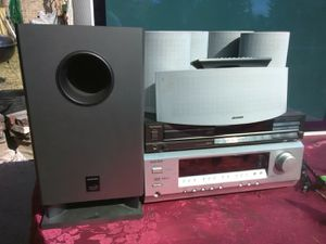 625 Watts Onkyo surround sound receiver with remote control and Technics CD player plus speakers and subwoofer for Sale in Washington, DC