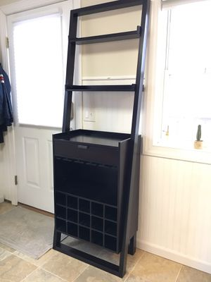 Leaning Shelf with Coffee Bar / Wine Rack | Crate & Barrel for Sale in Stratford, CT