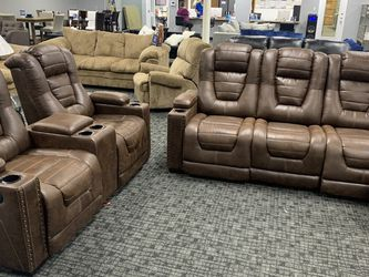 Brand New Media Room Recliner Love Seat Sofa Set- Genuine Leather- Full Recline! Take Home For Only $39 Down Today!! for Sale in Houston,  TX